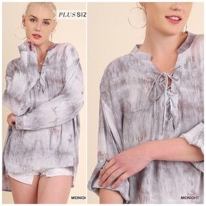 Tie dye lace-up front tunic